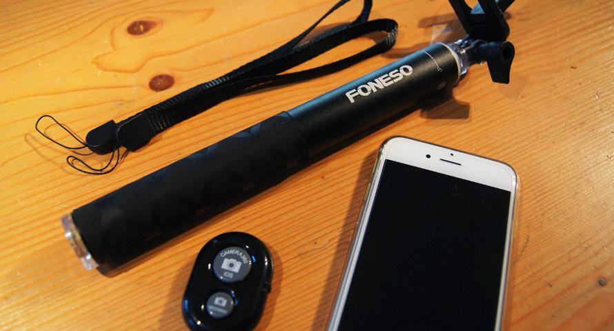 Foneso Selfie-Stick mit Bluetooth Fernbedienung