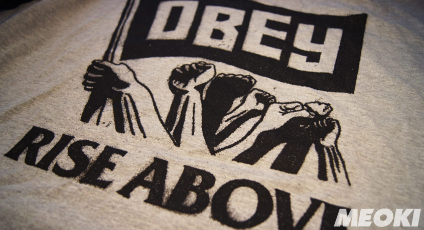 Obey Rise Above Flag Shirt in Heather Grey
