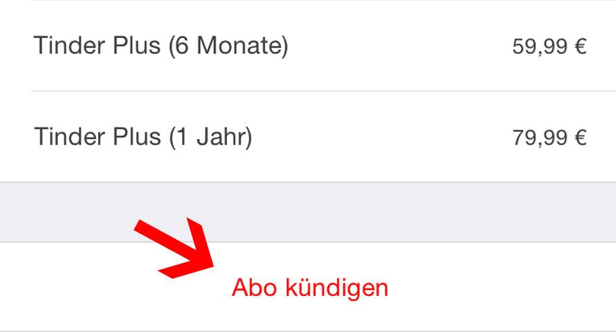 Tinder Plus auf iPhone, iPad oder iPod kündigen