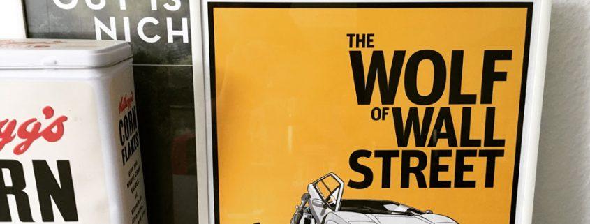 "Stilvolles ""Wolf of Wall Street"" Poster mit legendärer Autoszene"