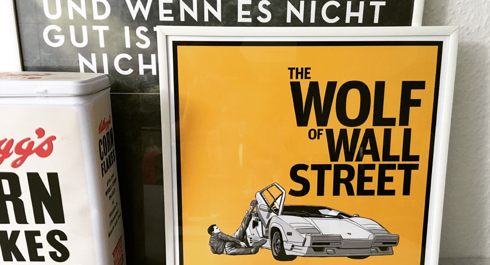 Wolf of Wall Street Poster im 30 x 30 Bilderrahmen